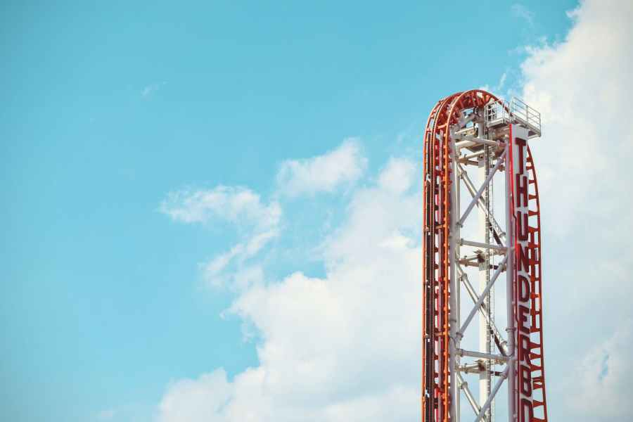 roller coaster rail at cloudy day