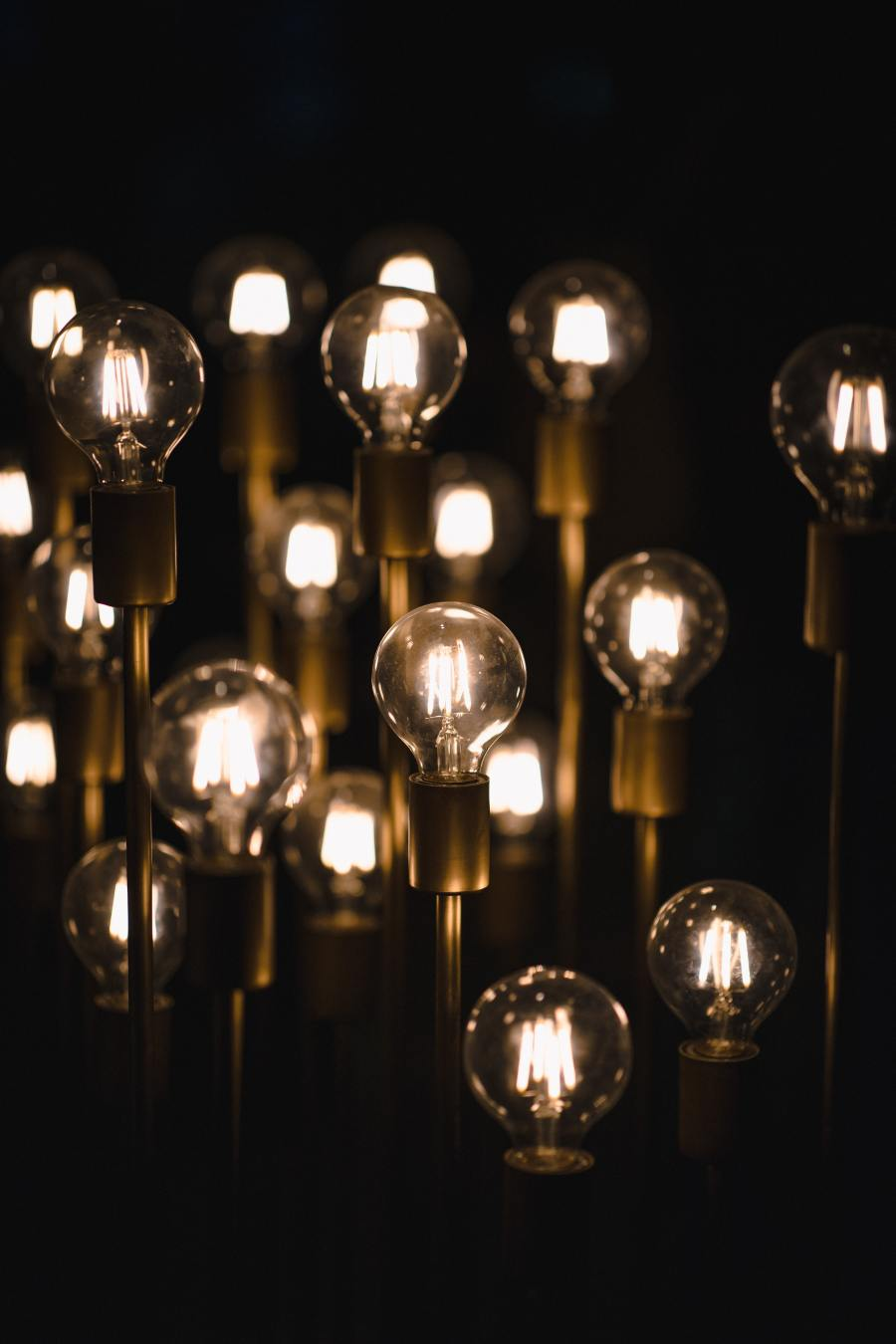 A collection of old fashion filament light bulbs lit up.